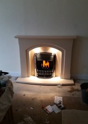 Slimline Valor Dream Gas Fire With Arched Marble Surround, Norton, Stourbridge.