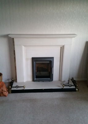 Purevision Pvi5 Inset Woodburning Stove With Aylesbury Limeston Suite - Kingswinford, Dudley, West Midlands.