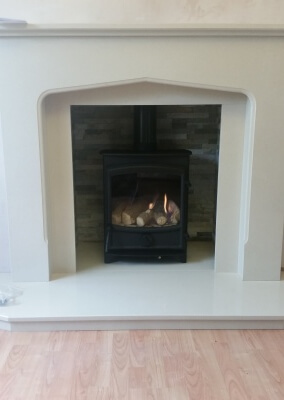 Fireline fx5 Gas Fire Stove With Staggered Tiled Backing - Finchfield, Wolverhampton.