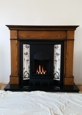 Cast Insert With Open fronted Gas Fire - Newport, South east Wales.