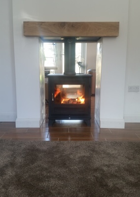 Chesney Salisbury Double Sided 10Kw Wooburning Stove With Solid Oak Mantel - Wollaston, Stourbridge.
