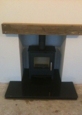 Multi fuel Stove with solid oak mantel, 316 grade chimney lining - Wordsley, Stourbridge.