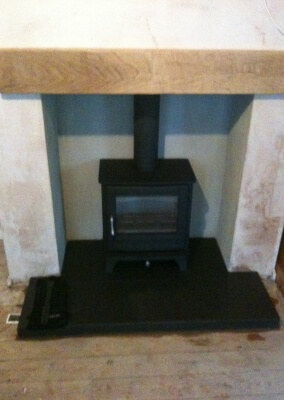 Chesney woodburning stove with solid oak mantel & slate hearth - Kingswinford, Dudley.