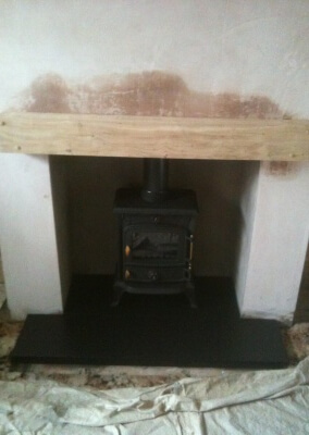 Multifuel woodburning stove with 316 grade stainless steel lining, oak mantel & slate hearth made to measure - Wombourne, Staffordshire.