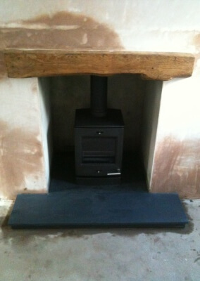 Yeoman multifuel woodburning stove, slate hearth made to measure & 316 stainless steel liner - Hagley, Stourbridge.