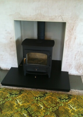 Clearview stove with 316 stainless steel lining, slate hearth made to measure Trysull, south staffordshire.