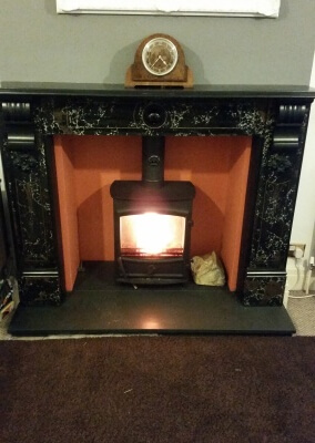 Fireline fx5w multifuel stove with slate hearth & re-instated existing fire surround - Coseley, Wolverhampton.