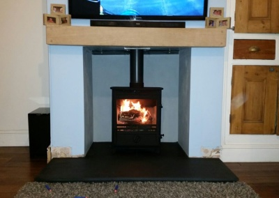 Fireline fx5w Multi Fuel Stove Install With Slate Hearth & Solid Oak Mantel - Wall Heath, Kingswinford.