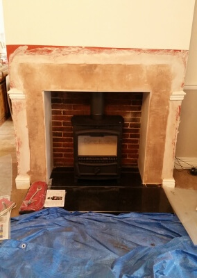 Fireline fp5w multifuel stove with chimney lining & re-instated existing granite hearth - Penn Wolverhampton.