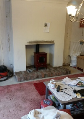 "5kw Multifuel stove with brick hearth and 6"" liner - Kingswinford, Dudley."