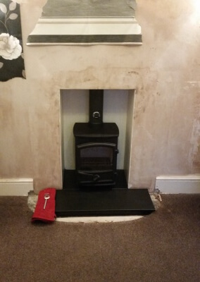 Fireline fp5 with slate hearth & Chimney lining - Wednesfield, Wolverhampton.