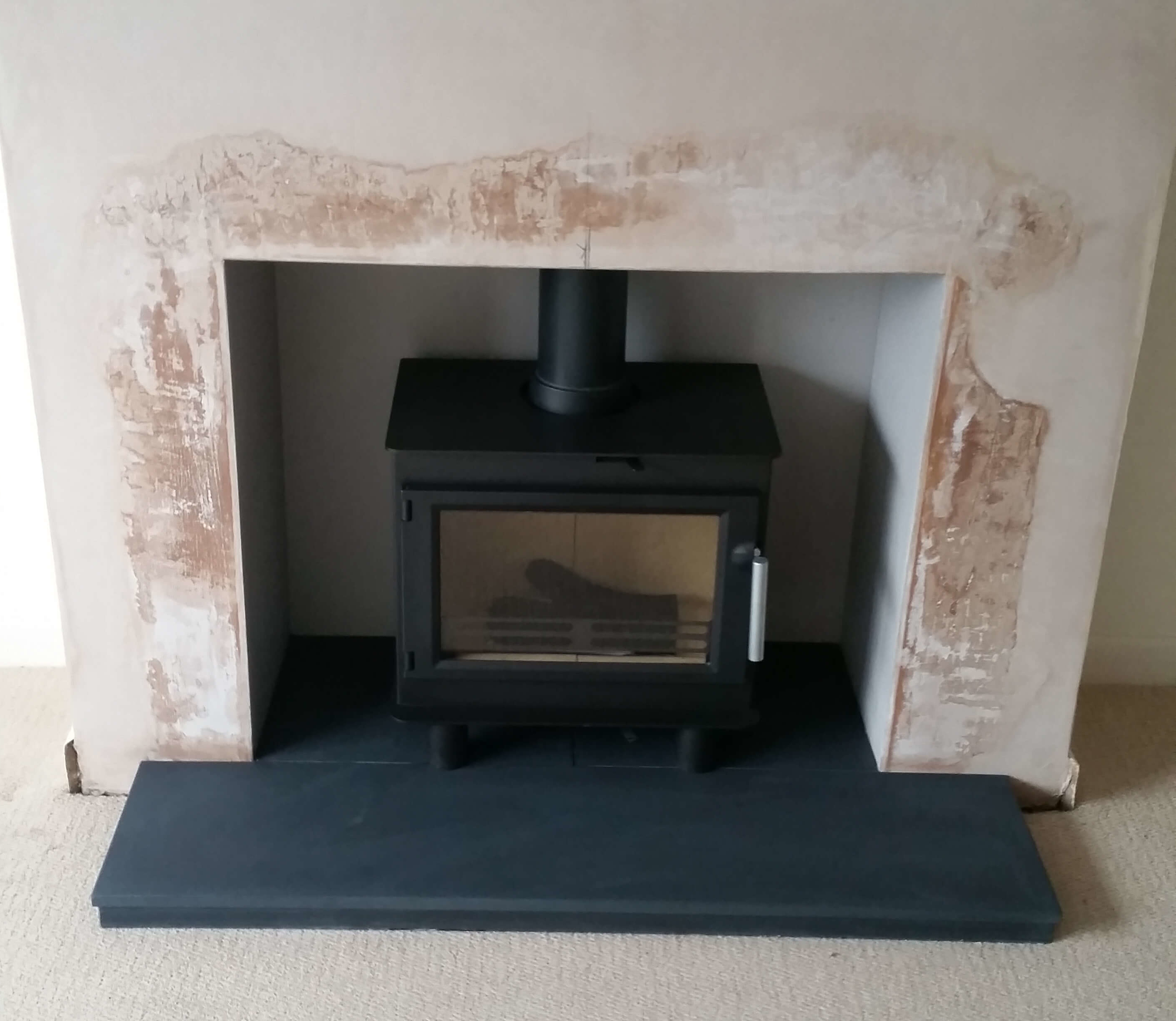 Woodburning stove with natural slate hearth & 316 grade chimney liner - Oldswinford, Stourbridge