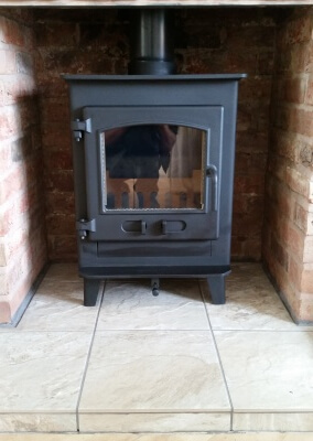 Deans Forge Croft Junior outset multi fuel stove with a 316 grade chimney liner - Stourton, Stourbridge
