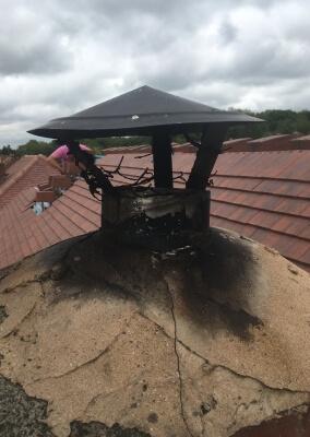 Chimney Sweep & Birds Nest Removal - New Rain Cap On Flue - Halesowen, Stourbridge, West Midlands.