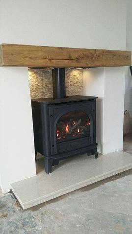 Installation of a gazco marlborough gas stove with wooden mantel & remote control - Gornal Wood