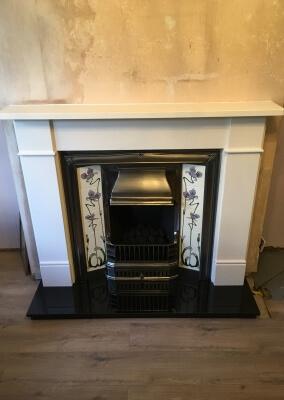 Open Fronted Gas Fire With Limestone Surround & Vintage Cast iron Back Pannel - Stourbridge, west Midlands