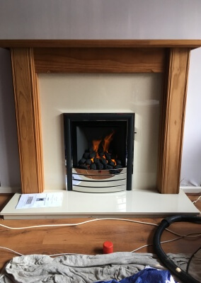 Charlton & Jenrick Paragon 2000 Slide Control Gas Fire With Wooden Surround & a Marble Set - Birmingham, West Midlands
