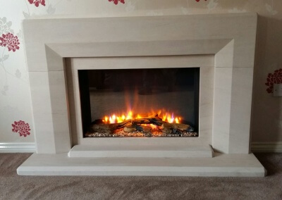 Charlton & Jenrick Limestone Suite With An Integrated Electric Fire - Staffordshire
