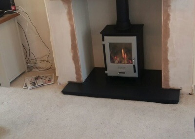 OER Gas Stove With A Slate Hearth & Solid Oak Mantel - Wall Heath, Kingswinford