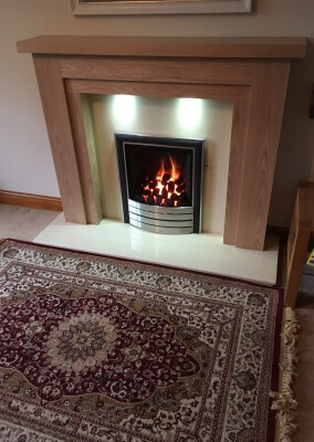 Paragon 2000 Slide Control Gas Fire With A Wooden Mantel & Built in Down Lighting - Stourbridge, West Midlands
