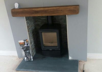 Gazco & Stovax Woodburning Stove With Solid Slate Hearth & A Porcelain Mantel With Down Lights - Great Haywood, Staffordshire