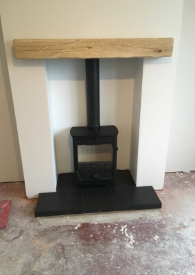 Charlton & Jenrick Fireline FX5W Multifuel Stove With Slate Hearth & A Solid Oak Mantel - Kingswinford, West Midlands