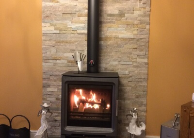 Purevision Multifuel Stove With A Solid Tiled Hearth Cut To Size & A Tiled Backing - Cannock