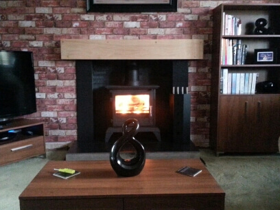 Fire fox 8kw multi fuel stove, with solid oak beam - sedgley, dudley.
